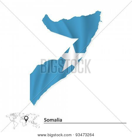Map of Somalia with flag - vector illustration