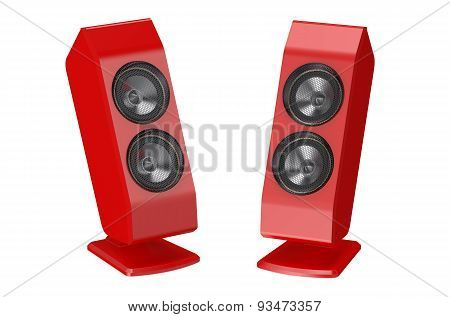 Two Red Loudspeakers