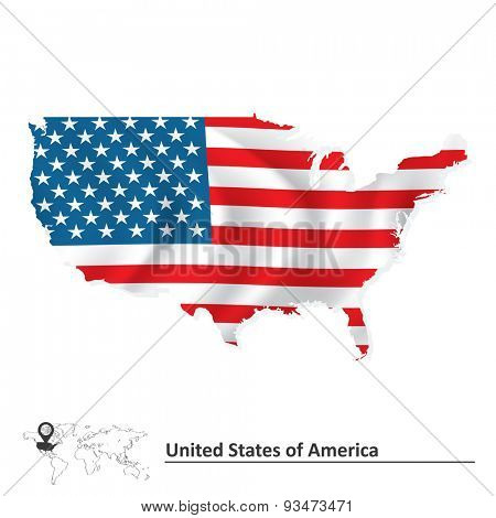 Map of United States of America with flag - vector illustration