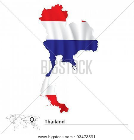 Map of Thailand with flag - vector illustration
