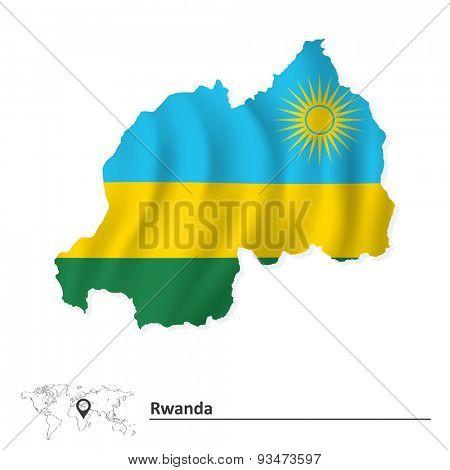 Map of Rwanda with flag - vector illustration