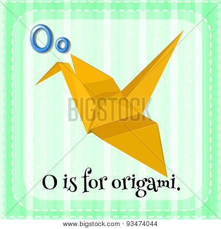 Flashcard of a letter O with a picture of an origami