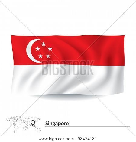 Flag of Singapore - vector illustration
