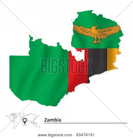 Map of Zambia with flag - vector illustration