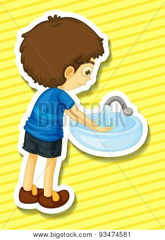 Sticker of a boy washing his hands in a sink