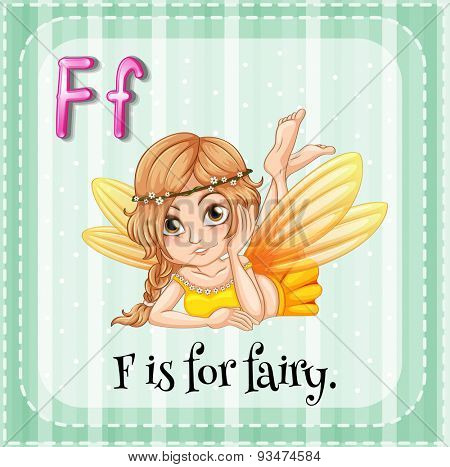 Flashcard of letter F with a pretty fairy pucture