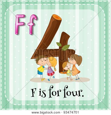 Flashcard of a letter F with four kids hugging
