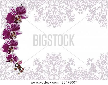 illustration with purple orchids in lilac floral decoration