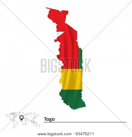 Map of Togo with flag - vector illustration