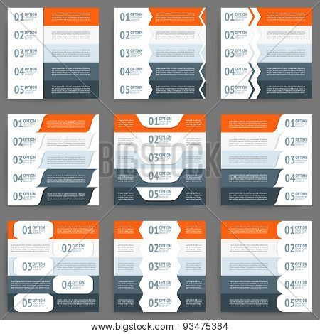 Mega collection of web info graphic concepts and banners, various universal set. Five options.