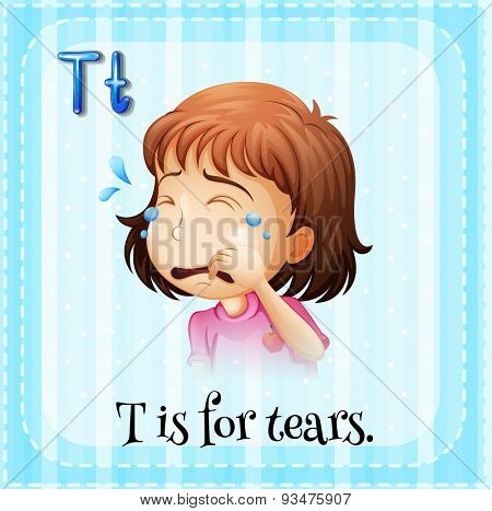 Flashcard letter T is for tears