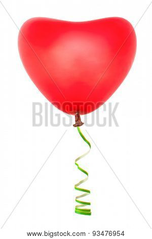 Heart shaped balloon and streamer isolated on white background