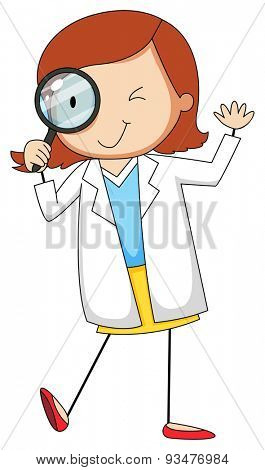 Female scientist using magnifying glass