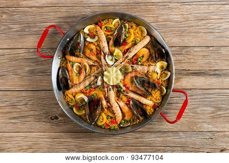 Paella With Seafood And Vegetables