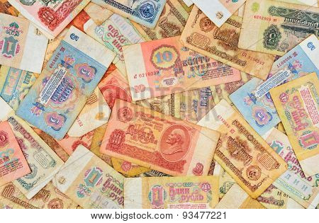Old soviet russian money background.