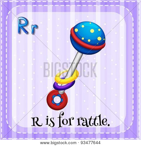 Flashcard letter R is for rattle