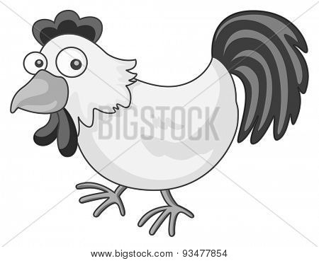 Close up one chicken in gray scale
