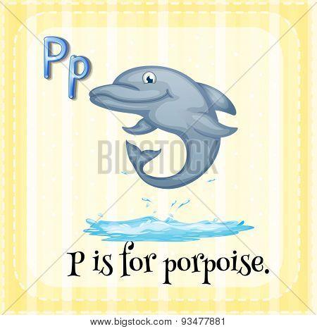 Flashcard letter P is porpoise