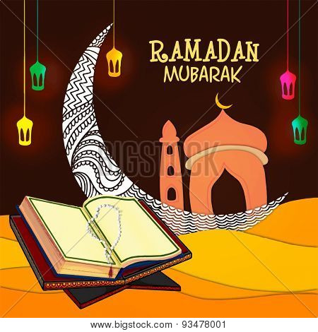 Open Islamic religious book Quran Shareef with rosary in front of floral crescent moon and mosque on colorful lanterns decorated background.