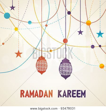 Beautiful greeting card design decorated with floral lanterns and stars on mosque silhouetted background for Islamic holy month of prayers, Ramadan Kareem celebration.