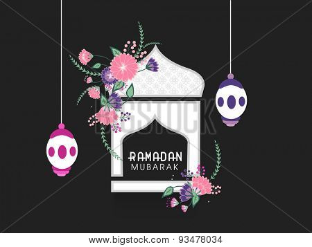 Beautiful flowers decorated white mosque design with creative hanging lanterns on black background for Islamic holy month of prayers, Ramadan Mubarak celebration.