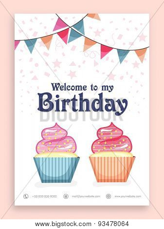 Birthday Party celebration welcome card or invitation card design with sweet cupcakes and colorful bunting decoration.