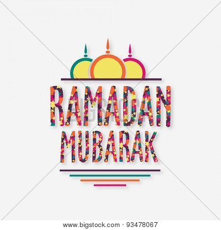 Stars decorated colorful wishing text Ramadan Mubarak with upper part of mosque on grey background, Elegant greeting card design for Islamic holy month of prayers, celebration.