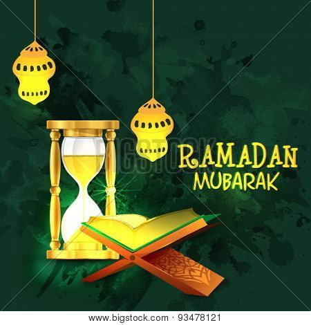 Islamic religious book Quran Shareef with shiny sand timer and golden traditional lanterns on grungy green background for Islamic holy month of prayers, Ramadan Mubarak celebration.