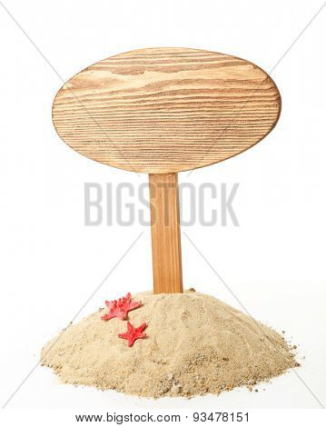 Wooden signboard with sand isolated on white