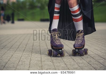 Female Legs In Roller Skating