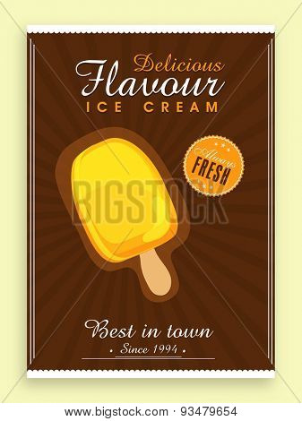 Stylish vintage menu card for Sweet Ice Cream.