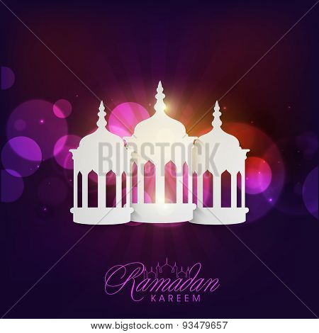 Glossy white traditional lanterns on abstract rays background for Islamic holy month of prayers, Ramadan Kareem celebration.