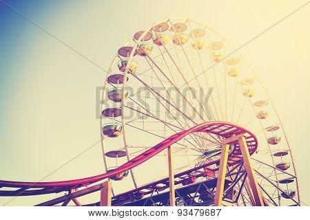 Vintage Stylized Picture Of An Amusement Park.