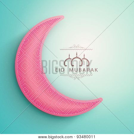 Muslim community festival, Eid Mubarak celebration paper cutout of crescent moon on shiny sky blue background.