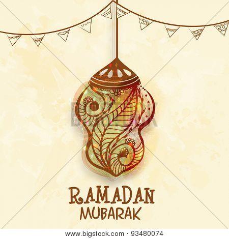 Beautiful floral design decorated creative hanging lantern with elegant buntings on grungy background for holy month of Muslim community, Ramadan Mubarak celebration.