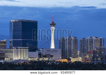 LAS VEGAS, NEVADA, USA - June 10, 2015:  Stormy dusk sky behind the Stratosphere and Fontainebleau towers on the Las Vegas Strip.