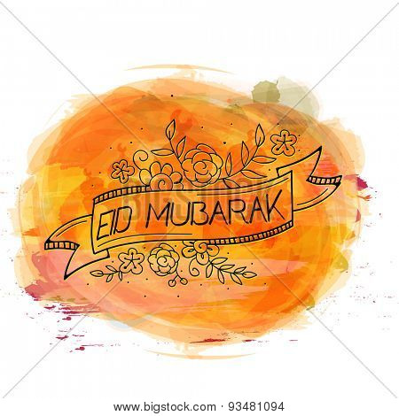 Muslim community festival, Eid Mubarak celebration greeting card with colorful splash.
