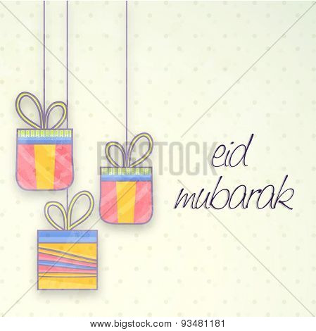 Muslim community festival, Eid Mubarak celebration with hanging colorful gifts.