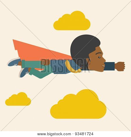 A superhero black businessman flying high to achieve his goal. Challenge concept. A Contemporary style with pastel palette, soft beige tinted background and yellow clouds. Vector flat design