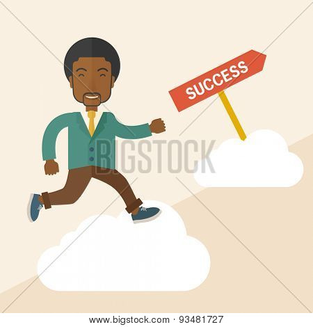 A happy african businessman smiling while jumping above the cloud for his succeess. Business growth concept. A Contemporary style with pastel palette, soft beige tinted background. Vector flat design