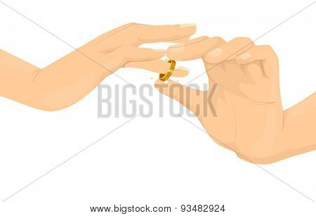 Cropped Illustration of a Person Inserting a Wedding Ring to the Finger of Another