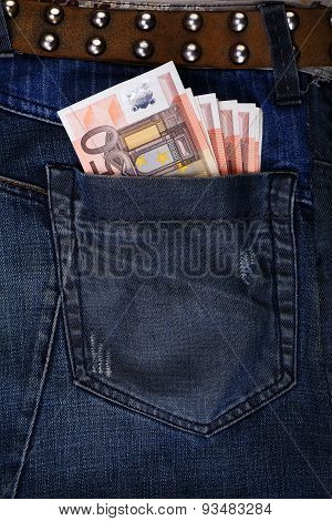 Jeans Pocket With Euros