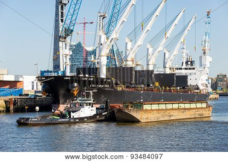 Harbor Basin Hamburg. Freighter will be unloaded