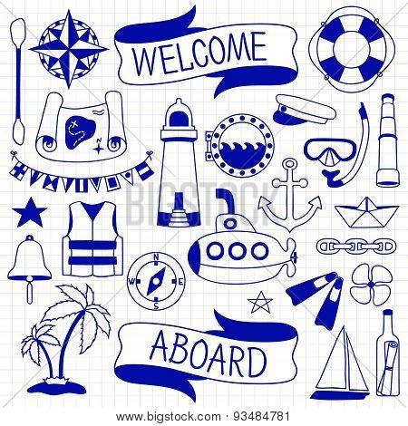 Doodle hand drawn nautical decor set