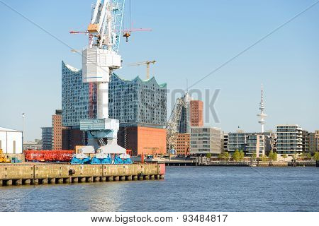View to the HafenCity from the harbor side Hamburg