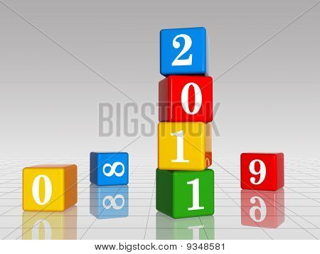 Colour Cubes With 2011 With 8,9 And 0, Reflection