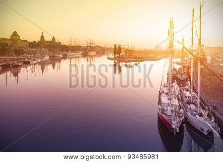 Beautiful Sunrise Over Harbor.