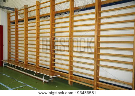 Closeup Of Wall Bars In A High School Gymnastic Hall