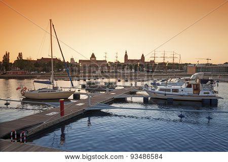 Yacht Marina At Sunset.