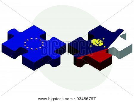 European Union And Wake Island Flags